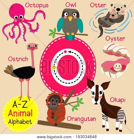 Cute children zoo alphabet O letter tracing of funny animal cartoon for kids learning English vocabulary vector illustration.