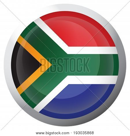 Isolated flag of South Africa on a button, Vector illustration