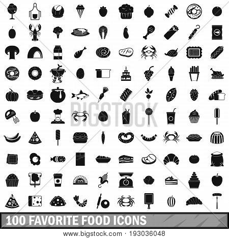 100 favorite food icons set in simple style for any design vector illustration