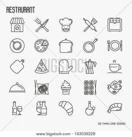 Restaurant thin line icons set: chef, kitchenware, food, beverages for info graphics, menu and print media. Vector illustration.
