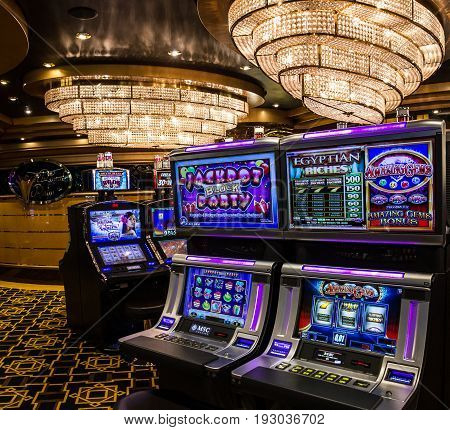 Cruise liner Splendida - May 12, 2017: Gaming slot machines in gambling casino, cruise liner Splendida, MSC