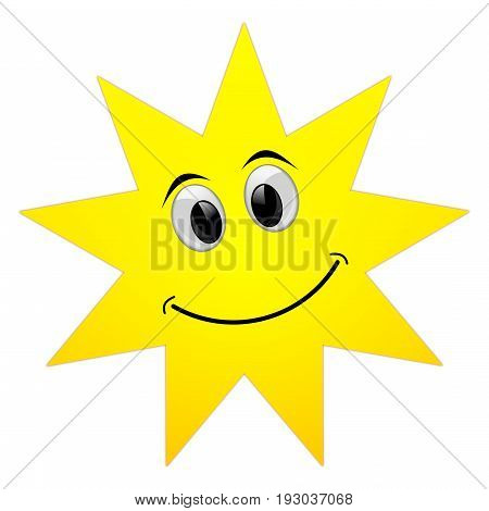 decorative Summer sun with smiling face - illustration