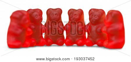 Childhood jelly candies bears green color red