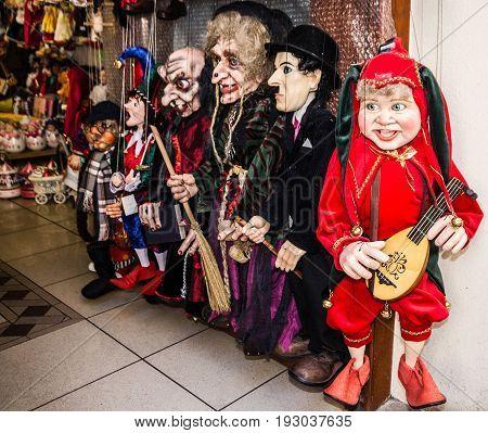 PRAGUE, CZECH REPUBLIC - MAY 29, 2017: Marionette shop in Prague, Czech Republic