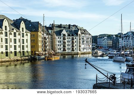 Alesund, Norway - May 3, 2017: Sea view on Alesund harbor, Norway.