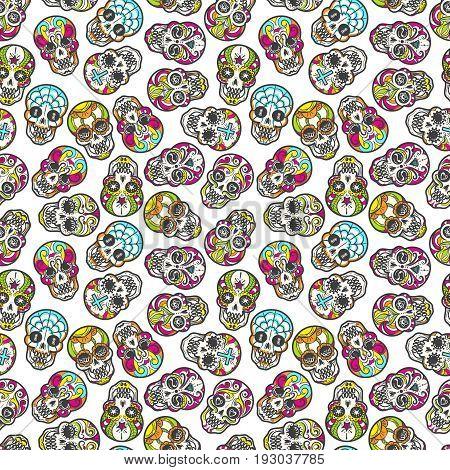 Colorful mexican sugar skull seamless pattern, vector illustration