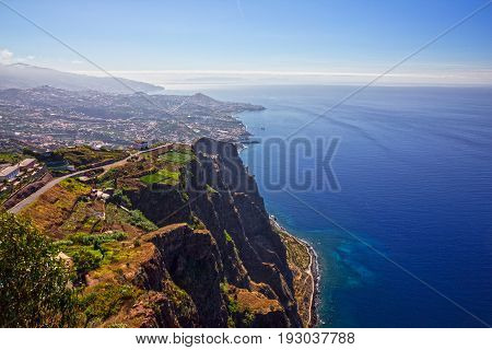 Madeira island Portugal. Landscape Cabo Girao Atlantic Ocean and Funchal. Cabo Girao is famous for its sea cliff