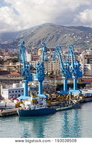 Palermo, Sicilia - May 12, 2017: Palermo Industrial port, Italy