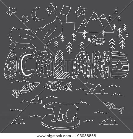 Iceland Hand Drawn Cartoon Map. Vector Illustration With Travel Landmarks, Animals And Natural Pheno