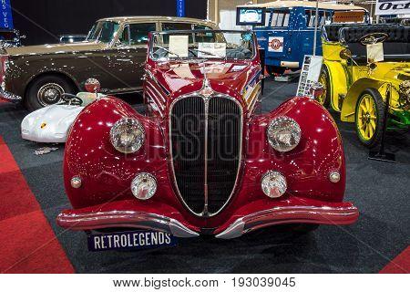 MAASTRICHT NETHERLANDS - JANUARY 14 2016: Luxury car Delahaye 135 MS Cabriolet by Pennock 1948. International Exhibition InterClassics & Topmobiel 2016