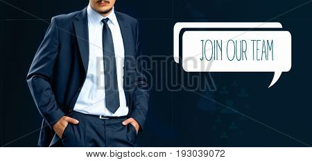 Join our team and human resources concept. Headhunter (businessman recruiter) stands next to the chat bubble with text join our team.