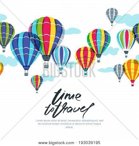 Vector Horizontal Seamless Background With Hot Air Balloons In The Sky. Hand Drawn Doodle Illustrati