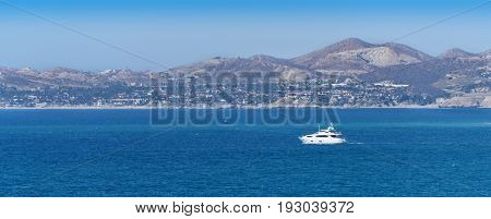 Luxury yacht sailing on the Sea of Cortez in Cabo San Lucas Mexico