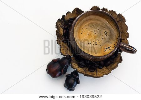 The coffee in the glass from natural coconut shells.