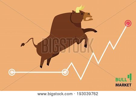 Bull treading on the stock market.  bull (market) running up on technical graph.  Stock exchange market bulls metaphor. Growing, rising up stock price.  Trading Flat style vector illustration EPS10.