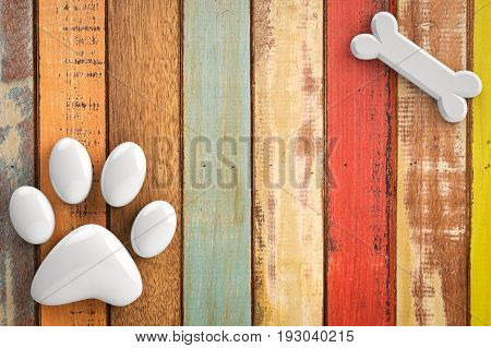 3d rendering dog bones and dog paw on wooden background