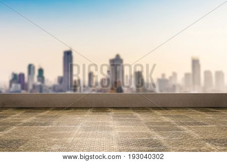 3d rendering roof top balcony with cityscape background