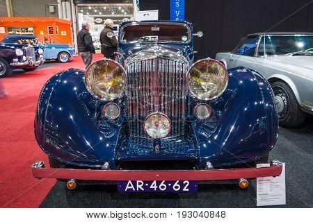 MAASTRICHT NETHERLANDS - JANUARY 15 2016: Luxury car Bentley 3.5 Litre Coupe by Gurney Nutting 1936. International Exhibition InterClassics & Topmobiel 2016