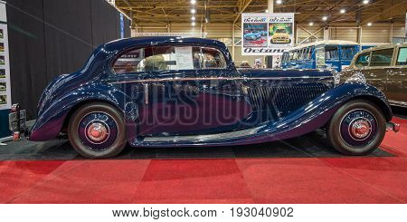 MAASTRICHT NETHERLANDS - JANUARY 15 2016: Luxury car Bentley 3.5 Litre Coupe by Gurney Nutting 1936. International Exhibition InterClassics & Topmobiel 2016