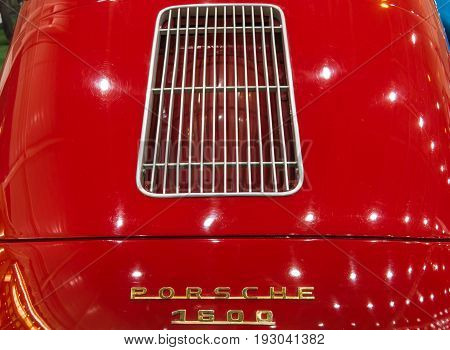MAASTRICHT NETHERLANDS - JANUARY 15 2016: Air vents of a luxury sports car Porsche 356A 1957. International Exhibition InterClassics & Topmobiel 2016
