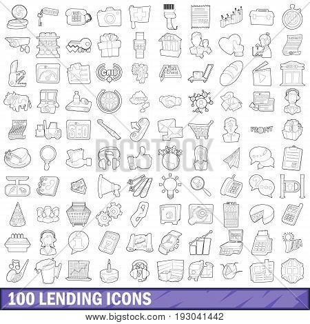 100 lending icons set in outline style for any design vector illustration