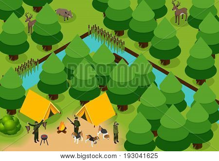 Isometric colored hunting composition group of hunters with tents and dogs in the forest vector illustration