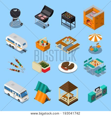 Bbq picnic isometric set with food, grill equipment, tents, camper, music on blue background isolated vector illustration