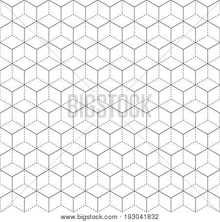 Heaxgon seamless pattern. Doubled network of thin and thick black hexagonal network on white background. Vector illustration.