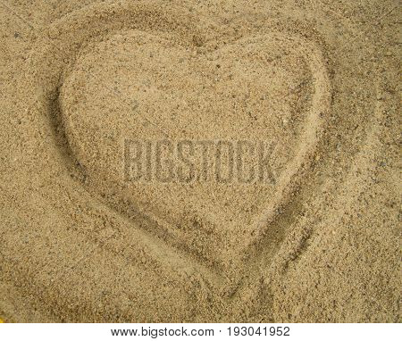 Heart Drawn In The Sand, A Symbol Of Love, Valentine's