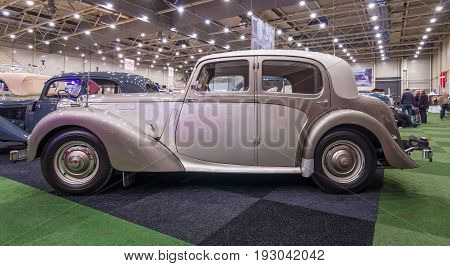 MAASTRICHT NETHERLANDS - JANUARY 15 2016: Vintage car Alvis Three Litre TA 21 Saloon 1952. International Exhibition InterClassics & Topmobiel 2016