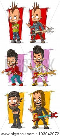 Cartoon crazy punk rock metal musicians with piercing and guitar character vector set