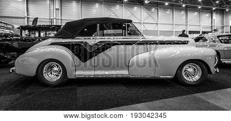 MAASTRICHT NETHERLANDS - JANUARY 15 2016: Vintage car Chevrolet Hot Rod 1947. Black and white. International Exhibition InterClassics & Topmobiel 2016