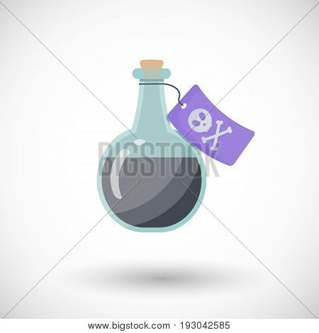 Poison bottle vector flat icon Flat design of toxic dangerous or medicine object with round shadow vector illustration