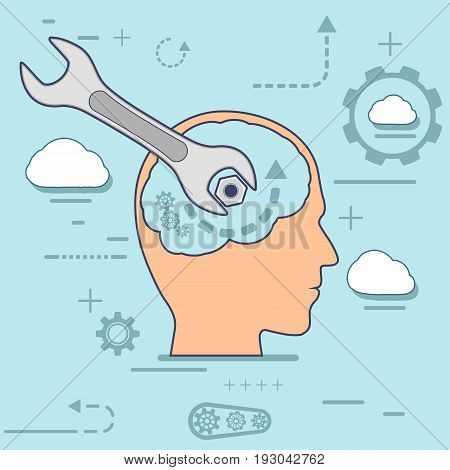 Human head and a wrench. Mental health. Flat line infographic design process. Vector stock illustration.
