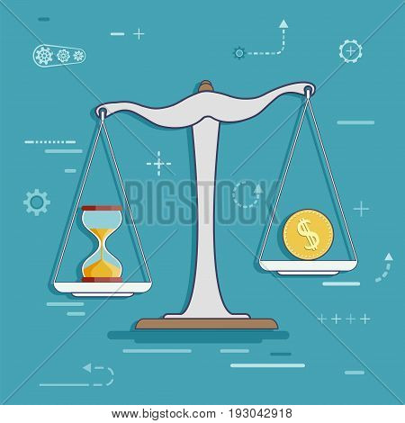 Scales with a dollar coin and hourglass. The financial analysis. Stock vector flat line infographic design.