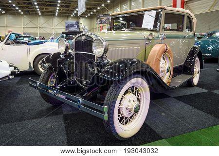 MAASTRICHT NETHERLANDS - JANUARY 15 2016: Vintage car Ford Model A A400 convertible 1931. International Exhibition InterClassics & Topmobiel 2016