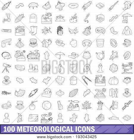 100 meteorological icons set in outline style for any design vector illustration