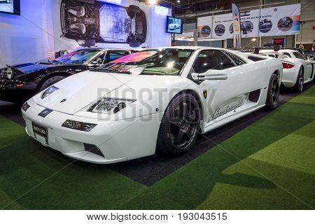 MAASTRICHT NETHERLANDS - JANUARY 15 2016: High-performance mid-engined sports car Lamborghini Diablo VT 6.0 2000. International Exhibition InterClassics & Topmobiel 2016