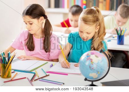 Studying caucasian pupils students childhood young classmates