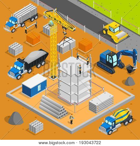 Construction isometric composition with building under construction industrial materials crane cement trucks and caterpillar excavating machine images vector illustration