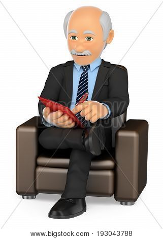 3d medical people illustration. Psychologist sitting on a chair working. Isolated white background.