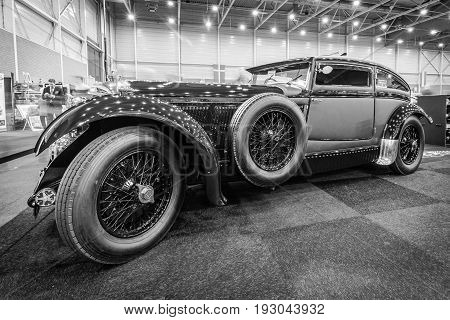 MAASTRICHT NETHERLANDS - JANUARY 15 2016: Vintage car Bentley Special Blue Train (built on the chassis Bentley Mark VI) 1951. Black and white. International Exhibition InterClassics & Topmobiel 2016