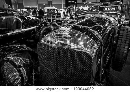MAASTRICHT NETHERLANDS - JANUARY 15 2016: Fragment of a vintage car Bentley Special Speed 8 (built on the chassis Bentley Mark VI) 1948. International Exhibition InterClassics & Topmobiel 2016