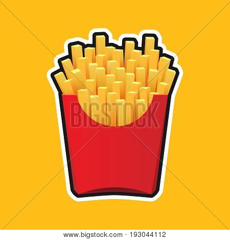 French fries in red package isolated on yellow backgroun, fast food illustration