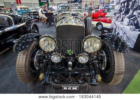 MAASTRICHT NETHERLANDS - JANUARY 15 2016: Vintage car Bentley Special Speed 8 (built on the chassis Bentley Mark VI) 1948. International Exhibition InterClassics & Topmobiel 2016
