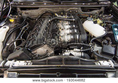 MAASTRICHT NETHERLANDS - JANUARY 15 2016: Engine M Power of BMW 3 Series (E36). Close-up. International Exhibition InterClassics & Topmobiel 2016