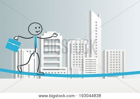 Business Challenge and Crisis Concept : Business man is walking and balancing on a rope with cityscape background. (3D Illustration)