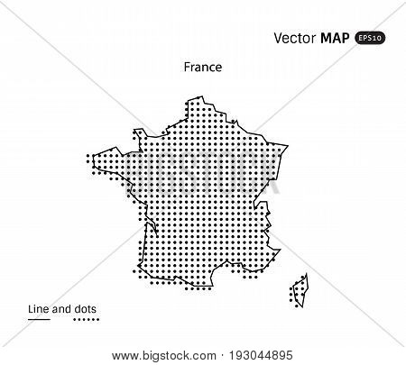 Vector Dotted France Map isolated on white background