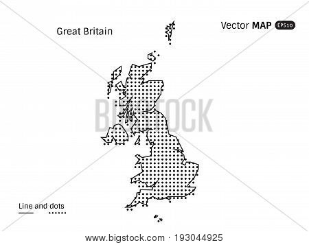 Vector Dotted Greit Britain Map isolated on white background