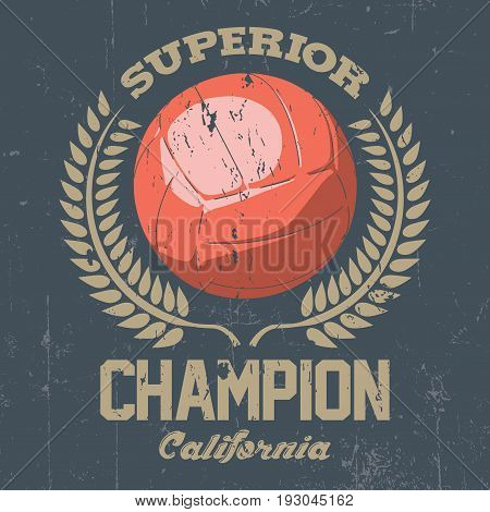 Superior California Champion Poster with one big ball in the centre vector illustration